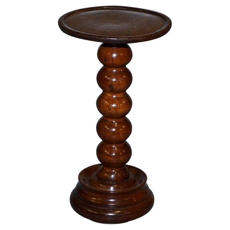 Nice Small Chunky Victorian Walnut Bobbin Turned Pillar Side End Lamp Wine Table For Sale