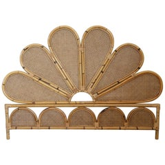 Nice Vintage Bamboo and Wien Straw Headboard