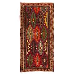Nice Vintage Colorful Turkish Kilim