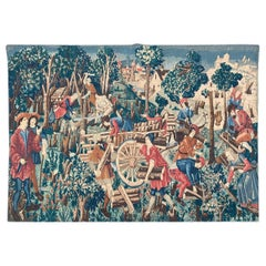 Nice Vintage French Gobelin Painted Medieval Style Tapestry