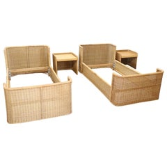 Nice Vintage Hand Woven Rattan Pair of Single Beds with Nightstands