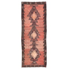 Nice Vintage Long Tribal Kurdish Kilim