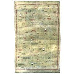 Nice Vintage Native Moroccan Flat Silk Rug