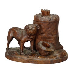 Nice Wooden Carved Boxer Tobacco Box, Swizerland Ca. 1900