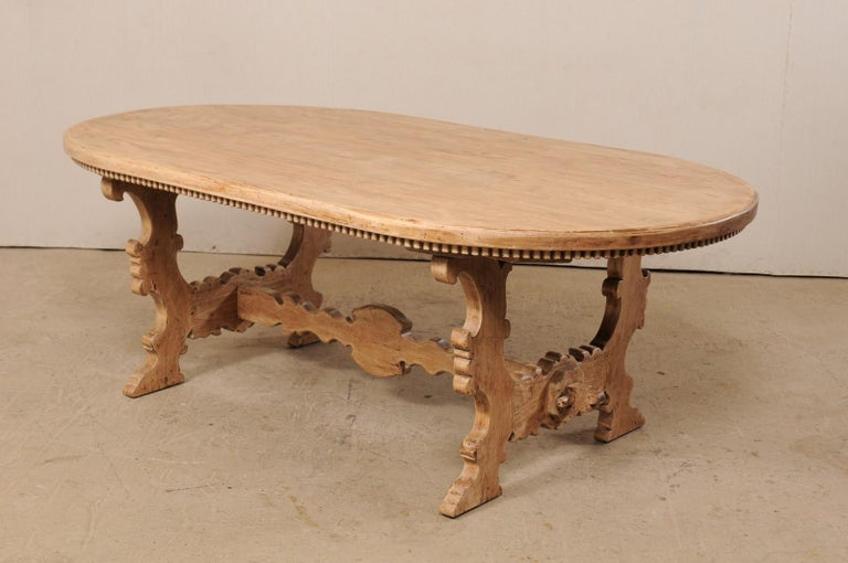7 Ft. Long Oval Trestle Bleached-Wood Dining Table w/ Beautiful Carvings & Trim  For Sale 4