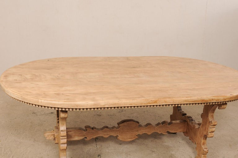 7 Ft. Long Oval Trestle Bleached-Wood Dining Table w/ Beautiful Carvings & Trim  For Sale 5