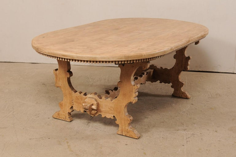 American 7 Ft. Long Oval Trestle Bleached-Wood Dining Table w/ Beautiful Carvings & Trim  For Sale
