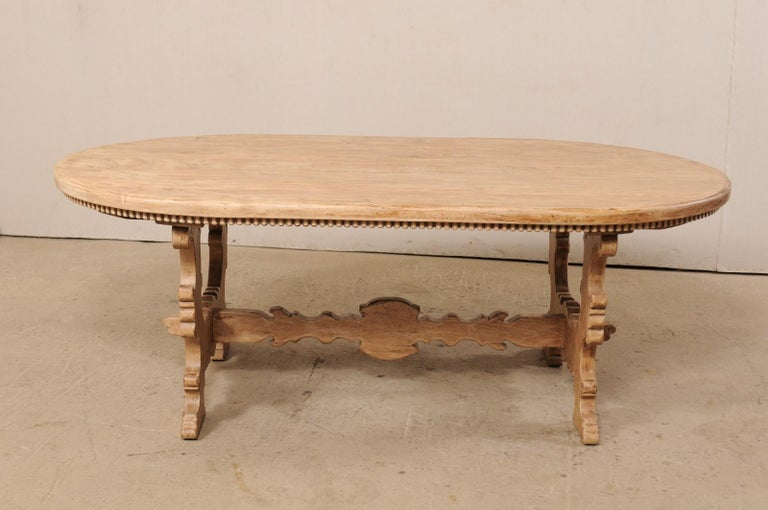 Carved 7 Ft. Long Oval Trestle Bleached-Wood Dining Table w/ Beautiful Carvings & Trim  For Sale