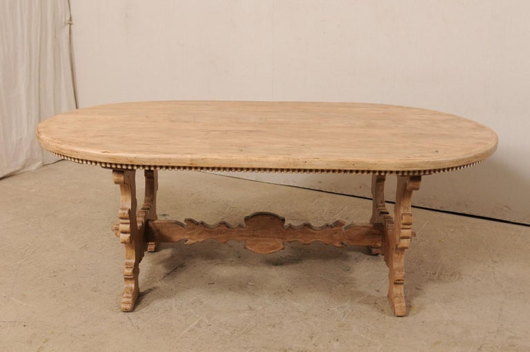 7 Ft. Long Oval Trestle Bleached-Wood Dining Table w/ Beautiful Carvings & Trim  In Good Condition For Sale In Atlanta, GA