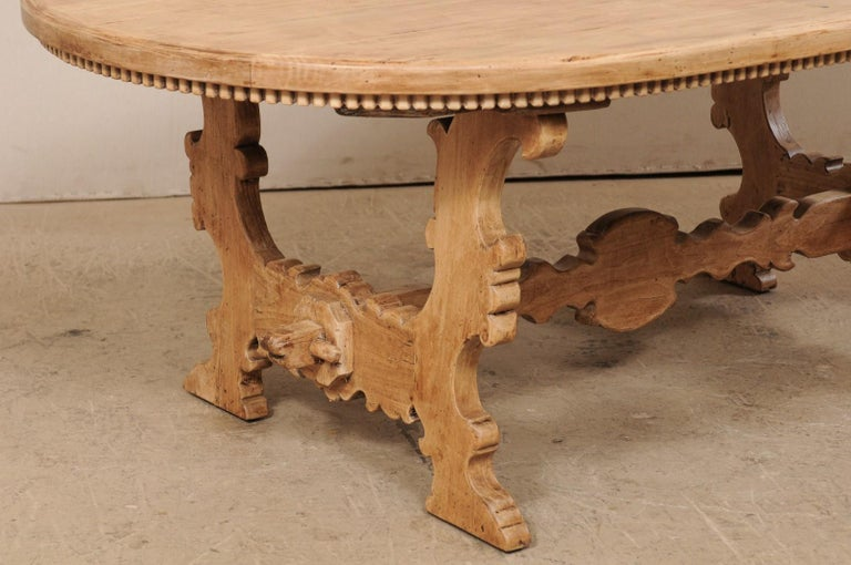 20th Century 7 Ft. Long Oval Trestle Bleached-Wood Dining Table w/ Beautiful Carvings & Trim  For Sale