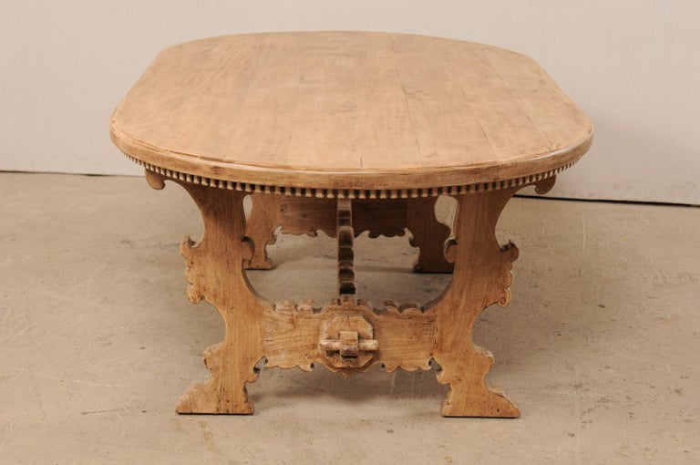 7 Ft. Long Oval Trestle Bleached-Wood Dining Table w/ Beautiful Carvings & Trim  For Sale 3
