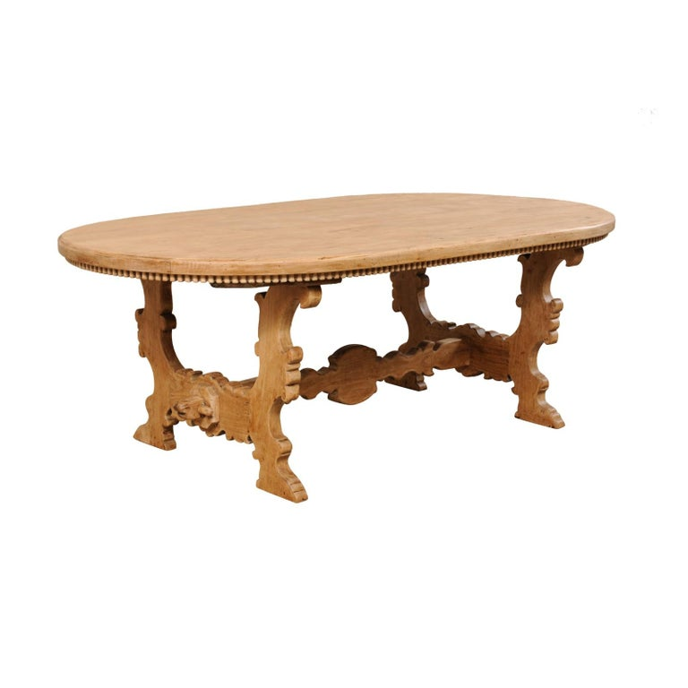 7 Ft. Long Oval Trestle Bleached-Wood Dining Table w/ Beautiful Carvings & Trim  For Sale