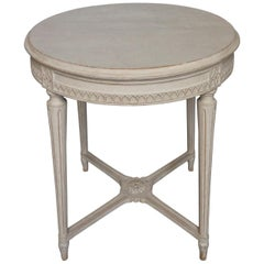 Nicely Carved Gustavian Style Round Table