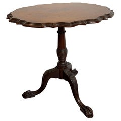 Nicely Carved Wood Tilt-Top Table, Mahogany with a Rosewood Top