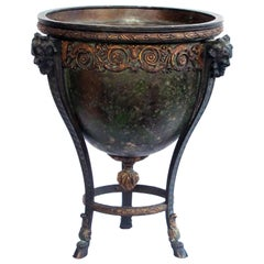 Nicely Cast and Chased French Neoclassical Style Gilt and Patinated Bronze Urn