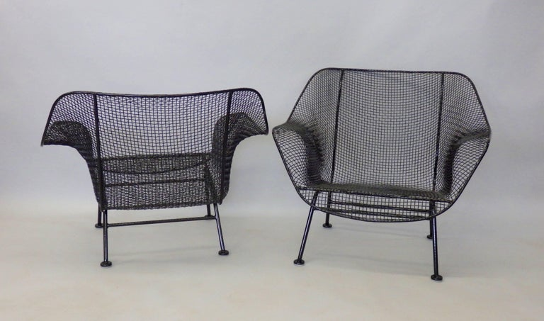 American Nicely Restored Russell Woodard Wrought Iron with Steel Mesh Lounge Chairs, Pair For Sale