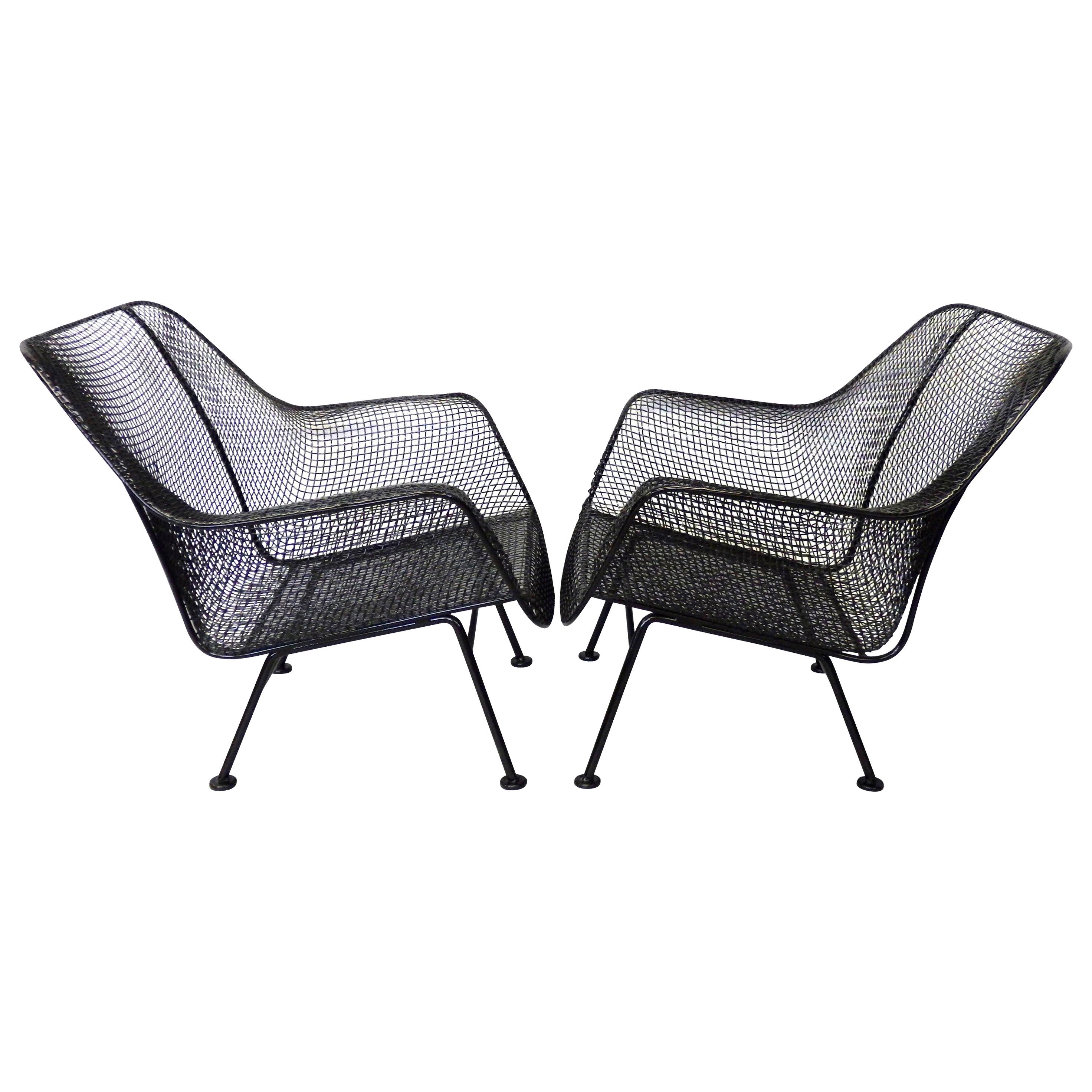 Nicely Restored Russell Woodard Wrought Iron with Steel Mesh Lounge Chairs, Pair