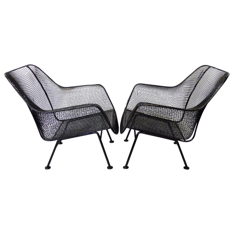 Nicely Restored Russell Woodard Wrought Iron with Steel Mesh Lounge Chairs, Pair For Sale