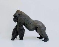''Standing Silverback'', Contemporary Bronze Sculpture Portrait of a Silverback