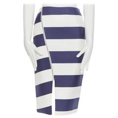 NICHOLAS 100% silk navy white striped asymmetric zip pencil skirt US2