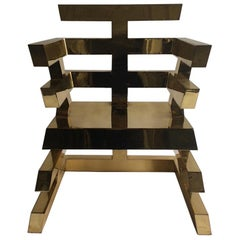 Nicholas Alvis Vega's iconic brass Aztec chair 1986