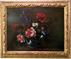 French Old Master oil painting, still life of flowers in a blue and white bowl