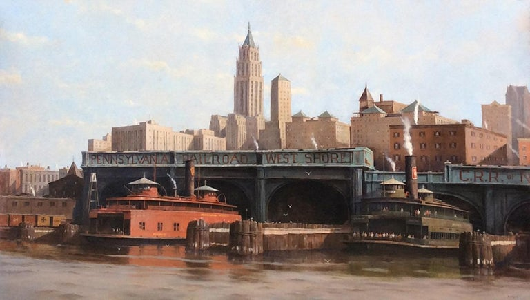 Nicholas Berger Landscape Painting - Afternoon Departure, West Shore Terminal