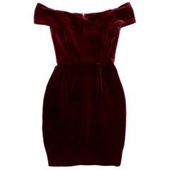Nicholas Bordeaux Velvet Off-the-Shoulder Mini Dress 6 UK