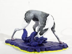 Hound 2/8 - small, grey, white, blue, figurative, dog, wildlife, resin sculpture