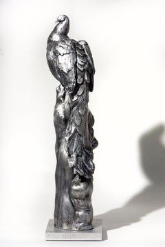 Peacock No 1 - aluminum male bird interior small sculpture