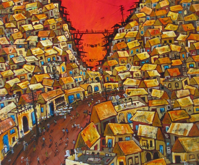 The memories of his time in Brazil are Nicholas Broughton's inspiration for his unique 'Favela' series.  A favela is the Brazilian equivalent of a shanty town which is generally found on the edge of the city and often on very steep slopes.  Nicholas