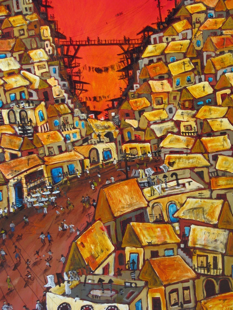 Red Valley Favela, Brazilian art, Contemporary Oil Painting For Sale 1