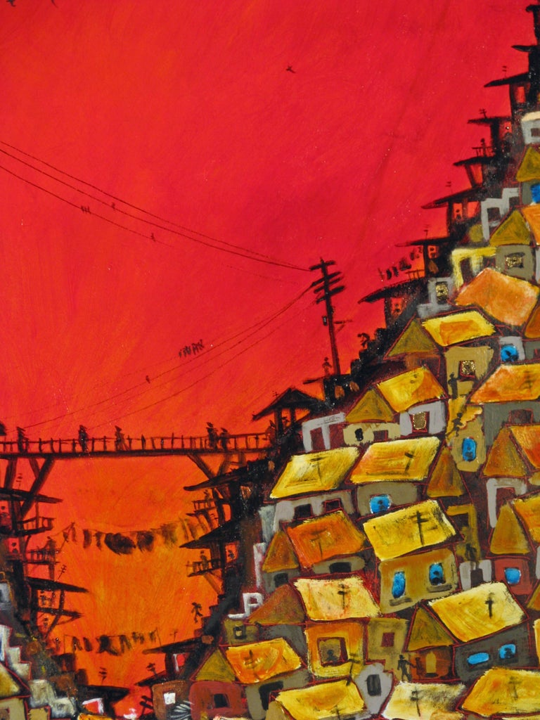 Red Valley Favela, Brazilian art, Contemporary Oil Painting For Sale 2