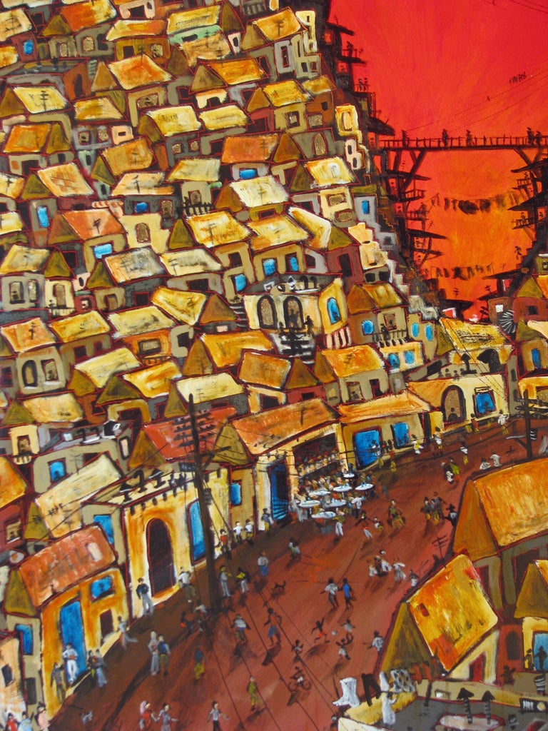 Red Valley Favela, Brazilian art, Contemporary Oil Painting For Sale 3