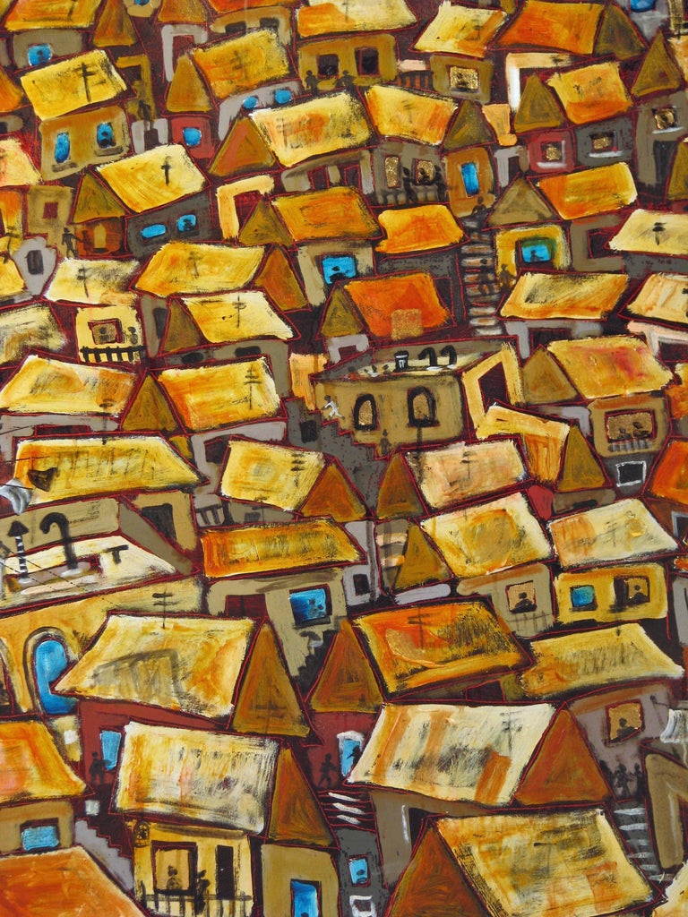 Red Valley Favela, Brazilian art, Contemporary Oil Painting For Sale 4