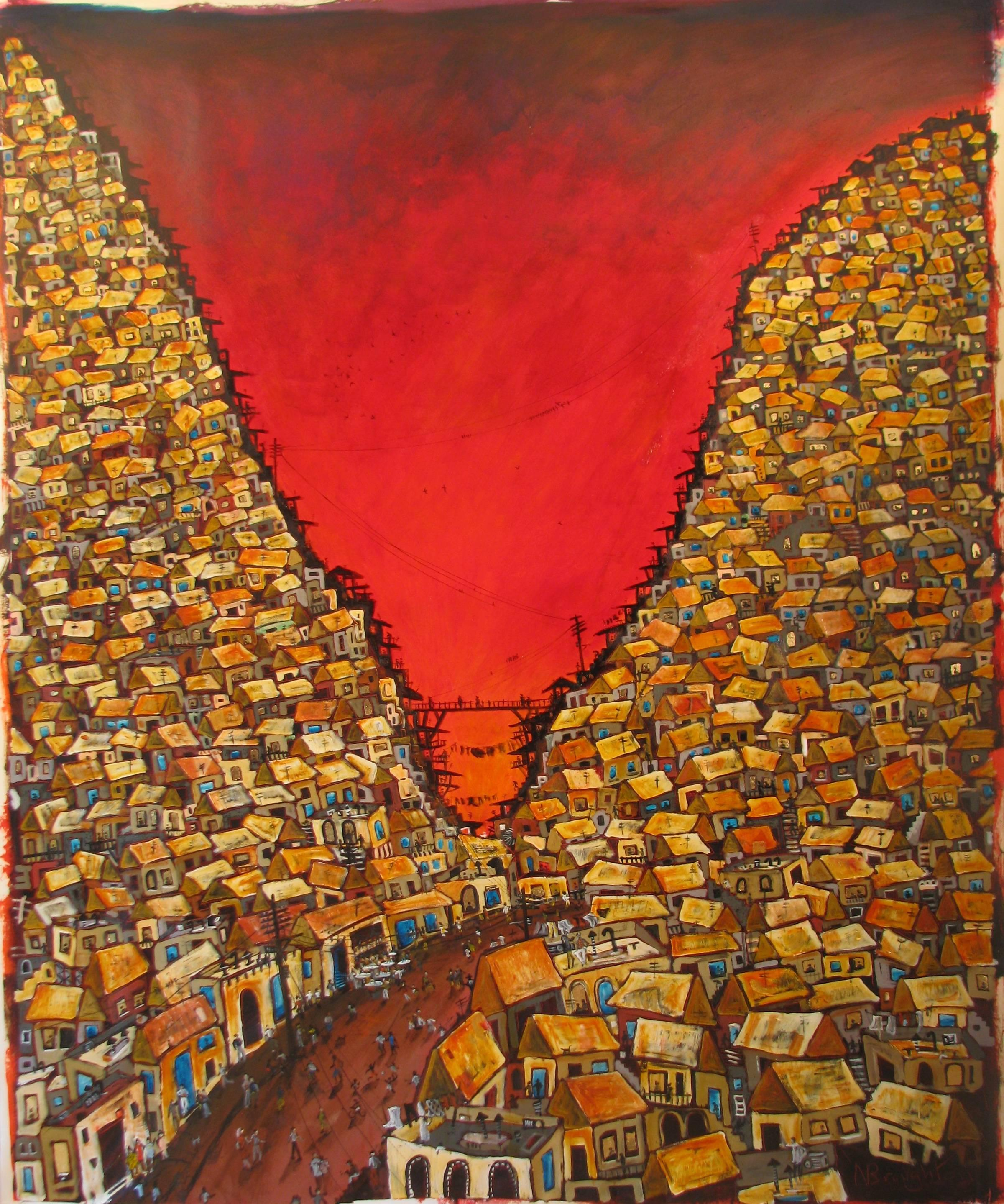 Red Valley Favela, Brazilian art, Contemporary Oil Painting
