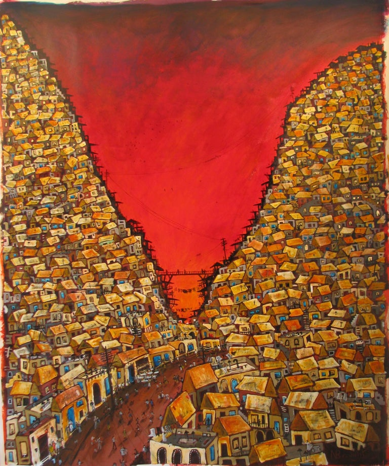 Red Valley Favela, Brazilian art, Contemporary Oil Painting - Mixed Media Art by Nicholas Broughton
