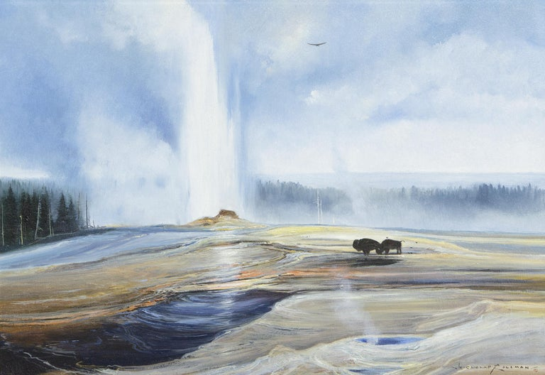 Nicholas Coleman Animal Painting - Untitled - Two Bison near Spouting Geyser