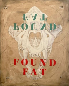 """""""Found Fat"""" (Abstract Neutral Skull Painting, Bold, Graphic Type, 93 x 73cm)"""