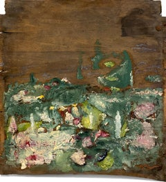 """""""Scents Hang Heavy"""" (Abstract, Bold, Lush Green Garden Painting on Antique Wood)"""