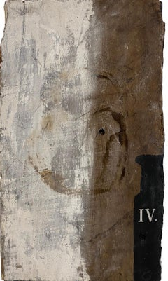 """""""Urn IV"""" (Abstract, Primitive, Black and White, Graphic Painting, Antique Wood)"""