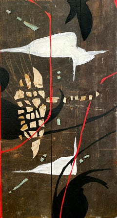 """""""Traces Of"""" (Abstract, Bold, Painting and Collage on Antique Wood, 50 x 26,5cm)"""