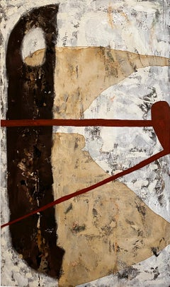 """""""Some Spain"""" (Neutral, Graphic, Bold, Abstract Painting on Wood, 120cm x 70,5cm)"""