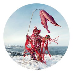 Raggy (Circular Color Photograph of Red Mythical Figure in an Arctic Landscape)