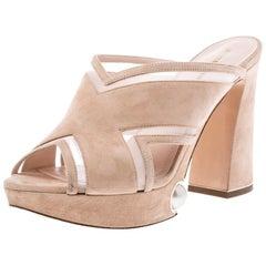 Nicholas Kirkwood Beige Suede Pearl Embellished Platform Open Toe Sandals 37.5