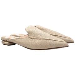 Nicholas Kirkwood Beya Raffia Beige Slippers 38.5