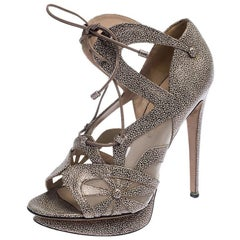 Nicholas Kirkwood Black/Beige Leather and Mesh Lace Up Platform Sandals Size 39