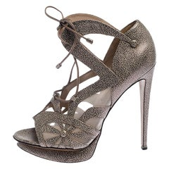 Nicholas Kirkwood Black/Beige Textured Leather and Mesh Lace Up Platform Sandals