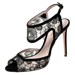 Nicholas Kirkwood Black Lace And Suede Leda Ankle Strap Sandals Size 38