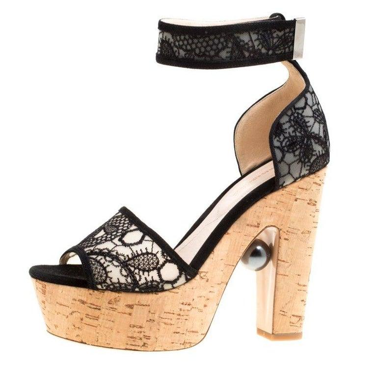 1392446e88c Nicholas Kirkwood Black Lace Maya Pearl Platform Ankle Strap Sandals Size  38 For Sale